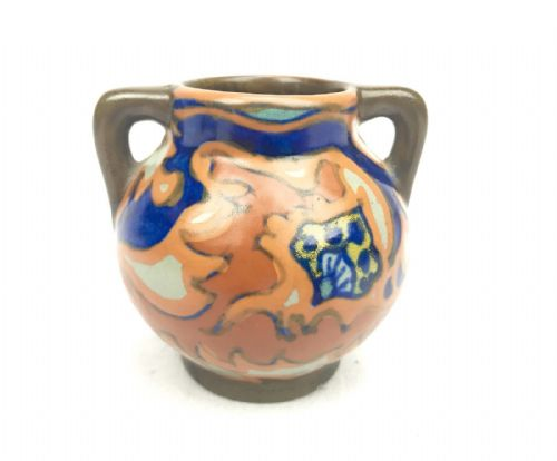 Gouda Pottery / Vase / Bowl / Jug / Art Deco / Brown / Blue / Orange Antique